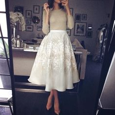 Satin silk white midi skirt with lace appliqué. So classy and gorgeous with a nude top and nude heels. Fashion