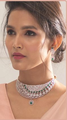 Luxury and finesse are at the core of this beautiful CZ choker set. At Tarinika, we are all about making Indian jewelry that strikes the right balance between art and luxury. This timeless beauty is handcrafted with high quality CZ stones and gold plating. This is perfect choice for long gowns and lehengas. Beauty Full Girl, Beauty Women, Beyond Beauty, Indian Jewelry Sets, Celebrity Jewelry, Most Beautiful Faces, Imitation Jewelry, Bridal Hair And Makeup, Summer Jewelry
