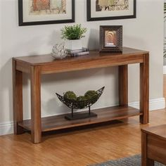 Rustic Natural Brown Wood Sofa Table