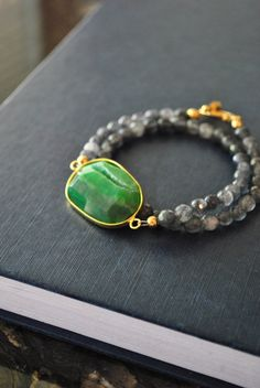TOUCH OF GREEN  grey agate and green agate druzy by TERESAJEWELRY, $95.00  www.teresajewelry.etsy.com