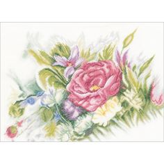 """LanArte Watercolor Flowers On Linen Counted Cross Stitch Kit-17.5""""""""X13"""""""" 30 Count"""