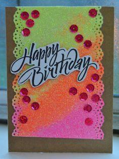 Happy Birthday neon glitter card by Stephanie (Skyline Paperie)
