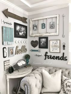 28 Farmhouse Wall Decor On A Budget to Make Your Home Comfort And Amazing - Farmhouse Decor Home Living Room, Living Room Designs, Living Room Decor, Living Room Gallery Wall, Rustic Gallery Wall, Picture Wall Living Room, Kitchen Gallery Wall, Rustic Wall Art, Rustic Decor