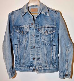 Vintage Levi's Red Tab Denim 6 Button Trucker Jacket 2 Pocket Made in USA Youth #LeviStrauss #Casual