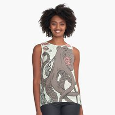 Royal Octopus Treasure Brown by kenallouis | Redbubble Octopus Artwork, Octopus Drawing, Octopus Print, Top Artists, Illustration Artists, 50th Anniversary, Artwork Prints, Shirt Designs, Tank Tops