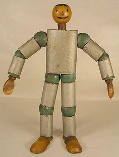 Vintage Spaceman Wooden Jointed Folk Art Advertising Figure Toy 50's 60'S   eBay