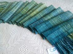 Gin & Juniper - handspun, handwoven gradient scarf or stole
