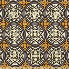 Bed skirt fabric for Carter  -Aviary 2 Scrollwork Granite - Discount Designer Fabric - Fabric.com