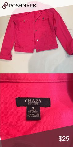 "💕Chaps Pink Denim Jacket Hot pink Denim jacket by Chaps. Silver buttons up front, on cuffs and front pockets. Lay flat measures underarm 19 1/2"" Shoulder to bottom of Jacket 22"". Sleeve Length 23 1/2"" Chaps Jackets & Coats Jean Jackets"