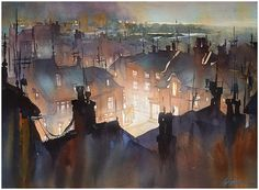 """Rooftops of Rye"" Thomas W Schaller - Watercolor. 18x24 Inches. 13 Jan. 2015"