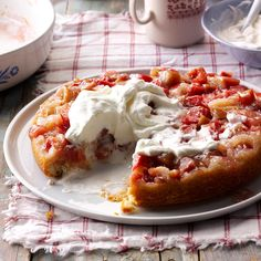 Rhubarb Upside-Down Cake Recipe -I've baked this cake every spring for many years, and my family loves it! At potlucks it gets eaten up quickly, even by folks who don't normally go for rhubarb. Use you own fresh rhubarb, hit up a farmers market or find a neighbor who will trade stalks for the recipe! —Helen Breman, Mattydale, New York