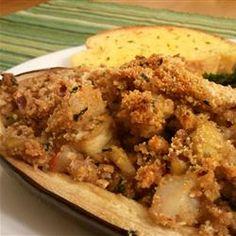 Stuffed Eggplant with Shrimp and Basil, I added shallots & fresh parsley with the garlic/shrimp.   Yummy, yummy!