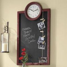 Framed chalkboard with clock. Countrydoor.com