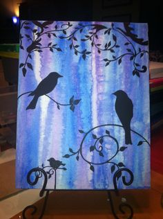 Bird Painting - love the background and the contrast