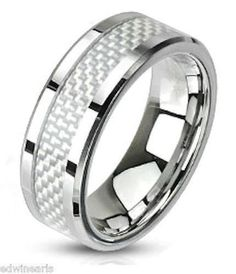 Men's White Fiber Inlay Stainless Steel Wedding Band Ring Size 5-14 #EdwinEarlsCollections