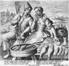 ''Water,' an engraving by Crispin de Passe after a design by Martin de Vos, from a series of 'The Four Elements,' ca 1600-10.