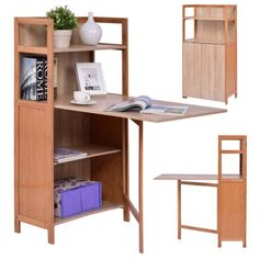 Fold-Out-Cabinet-Folding-Desk-Convertible-Workstation-Book-Shelf-Wood-Computer