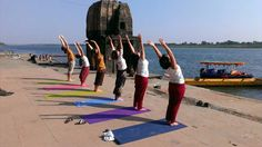 Yoga near the holy river narmada