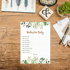 Greenery Wishes For Baby Printable Green Leaves Baby Shower Games Botanical Baby Shower Activity Nature Baby Shower Green Shower Games 276 by MossAndTwigPrints on Etsy