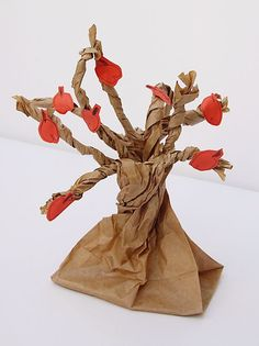 Paper Bag apple tree - perfect for earth day, Tu Bshvat or Rosh Hashanah (Jewish New Year).