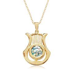Gold and Round Roman Glass David's Harp Pendant