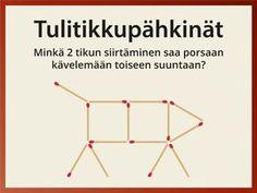 Erilaiset tulitikkupulmat ja -tehtävät ovat siirtyneet ikäpolvelta toiselle. Tulitikkupähkinät 1 ja 2 sisältävät kumpikin 10 perinteistä tulitikkutehtävää. Näytä tehtävät näytöltä tai muodosta vaikka puukepeistä ulkona. Team Activities, Activity Games, Math Games, Activities For Kids, Finnish Language, Bell Work, Math Problem Solving, Math 2, Brain Gym