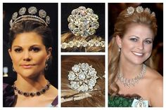 Photos (clockwise from left): Crown Princess Victoria of Sweden (wearing the Six Button); Six Button detail; Princess Madeleine of Sweden (wearing the Four Button); Four Button detail