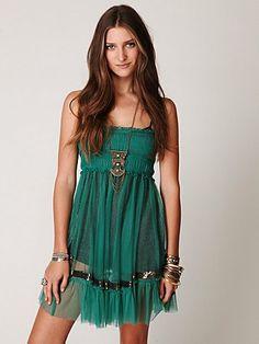 Free People One Smocked Sequin Slip, Emerald