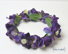 Purple Flower Crown - Big Flower Crown, Chunky Flower Crown, Hydrangea Flower Crown, Silk Flower Crown, Boho Wedding, Boho, Floral Crown by blueorchidcreations on Etsy
