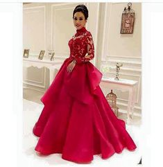 High-Neck Red See-Through Long-Sleeve Lace Evening-Dresses Dubai Style Muslim Formal Evening Dress