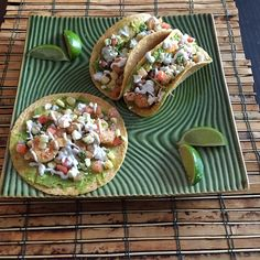 It took no time to throw these together! They're full of flavor and simple to make! Corn tortillas   Sautéed shrimp  Guacamole    Pico  Corn Feta cheese  Plain G…