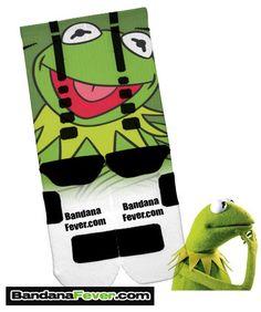 Custom Nike Elite Socks Kermit the Frog, #elites, #elitesocks, by Bandana Fever