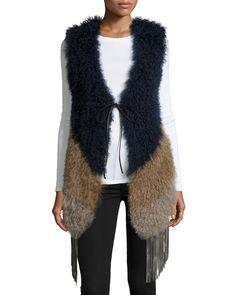 Fringe Chevron Fur Vest, Camel, Size: MEDIUM - Pologeorgis