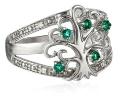 Sterling Silver Tree of Life Created-Emerald Diamond Ring, Size 6 Amazon Curated Collection http://www.amazon.com/dp/B00IZGFYMU/ref=cm_sw_r_pi_dp_JeUXtb12QTNP0PF2