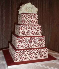 red and white stenciled cake