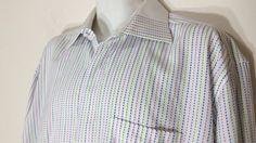 Steven Land Dress Shirt 17 1/2 34-35 Multi-Colored French Cuffs 100% Cotton #StevenLand