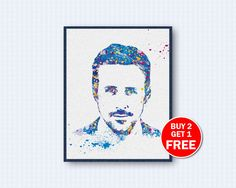 Shop for on Etsy, the place to express your creativity through the buying and selling of handmade and vintage goods. Ryan Gosling, Watercolor Art, My Arts, Wall Decor, Unique Jewelry, Handmade Gifts, Movie Posters, Stuff To Buy, Etsy