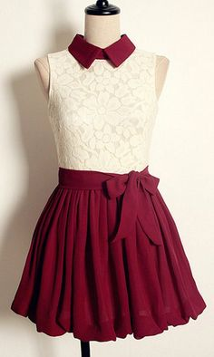 Maroon & lace dress with a cute collar