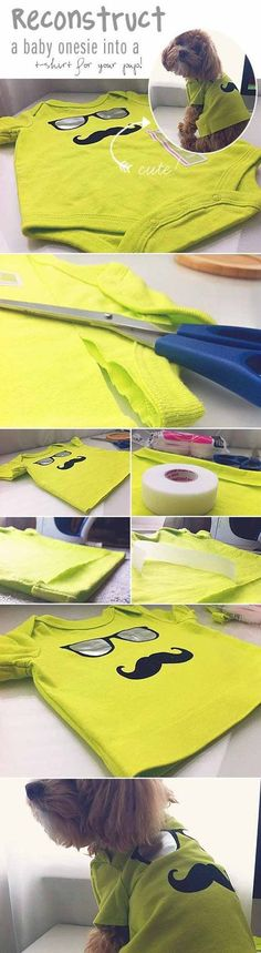 Check out 12 DIY Dog Clothes and Coats | Baby Onesie to Dog Shirt by DIY Ready at http://diyready.com/diy-dog-clothes-and-coats/: