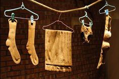 """""""The dingy-looking clothes hanging on the line above look like whites in need of a good bleaching. But the 'clothes' aren't even made of fabric, they're actually intricately carved pieces of wood. Taiwanese artist Mary Leu creates the hyperrealistic items by painstakingly carving a single piece of boxwood to mimic the folds, creases, and textures of fabric objects."""" - PSFK"""