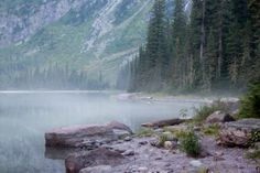 Mist on Avalanche Lake gives this photo a dreamy look. We didn't see any mist on the lake while hiking Glacier National Park, but the wind sent shivers down our spines as it swooped down the glaciated mountainside.