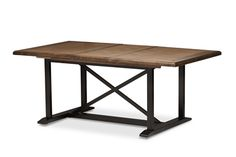 "Baxton Studio Longford ""Dark-Walnut"" Wood and Black Metal Vintage Industrial  Dining Set Affordable modern furniture in Chicago, classic dining room furniture, modern dining table, cheap dining table"