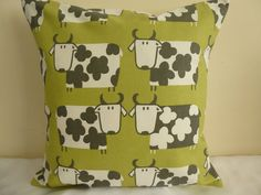 16  CUSHION COVER COUNTRY COTTAGE FARM COWS SHABBY SCANDI OLIVE PISTACHIO GREEN