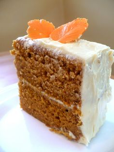 Fall is coming! Pumpkin cake with caramel cream cheese frosting and candy leaves!