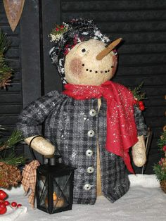 Primitive Olde Folk Art Snowman Doll**Let Me Light The Way**Prim Shelf Sitter #NaivePrimitive #SharonHall