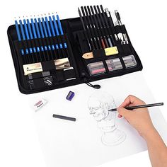 Pastel And Charcoal Pencils And Accessories Includes Graphite 40 Piece Drawing Pencils And Sketch Set In Pop Up Zipper Case