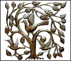 "Birds in a Tree Metal Wall Art - Haitian Steel Oil Drum Design - 17"" x 17"""