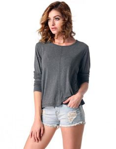 Finejo Women Casual Loose O-neck 3/4 Sleeve Solid Asymmetrical Hem Blouse Tops 0.01$