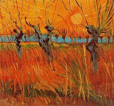 Van Gogh. Sauces a la puesta de sol.1888.