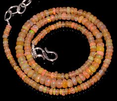 "38CRTS 3to5MM 18"" ETHIOPIAN OPAL RONDELLE BEAUTIFUL BEADS NECKLACE OBI2812 #OPALBEADSINDIA"